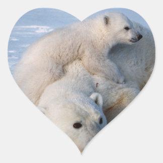 Osos polares de la madre y del bebé pegatina en forma de corazón