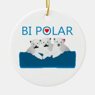 Osos polares del BI Adorno Navideño Redondo De Cerámica