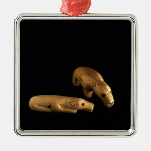 Osos polares del Inuit, 14to - siglo XV Adorno Navideño Cuadrado De Metal