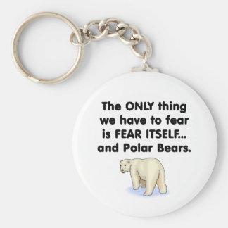 Osos polares del miedo sí mismo llavero redondo tipo pin