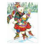 Osos polares del patinaje de hielo tarjetas postales