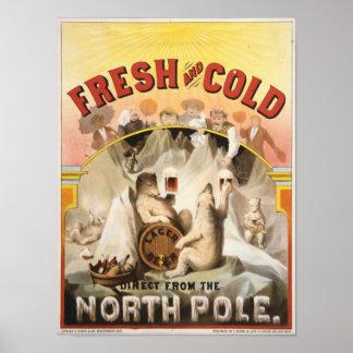 Osos polares del vintage, impresión del anuncio de póster