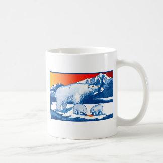 Osos polares en azul y rojo taza