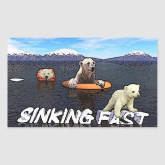 Osos polares - hundiéndose rápidamente pegatina rectangular