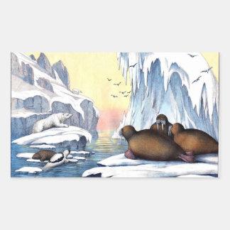 Osos polares, morsa, y sellos pegatina rectangular