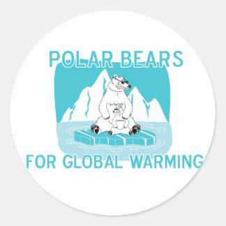 Osos polares para el calentamiento del planeta pegatina redonda