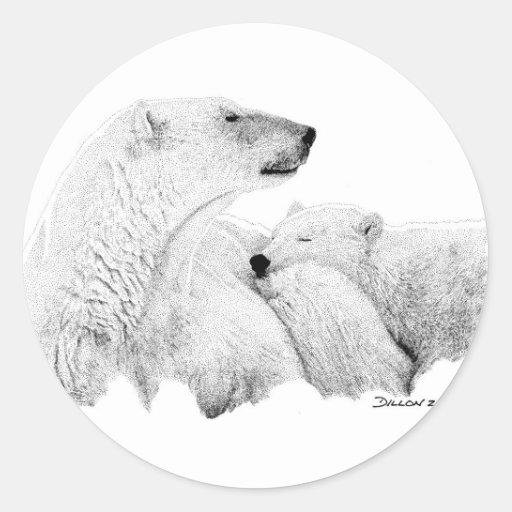 Osos polares pegatina redonda