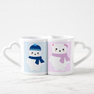 Osos polares personalizados del invierno taza para parejas