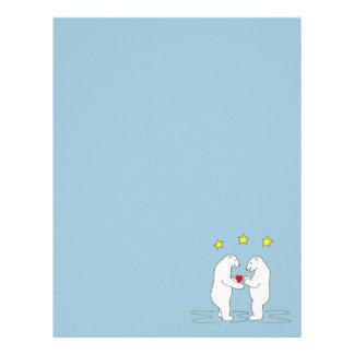 Osos polares que dan las estrellas del corazón y membrete