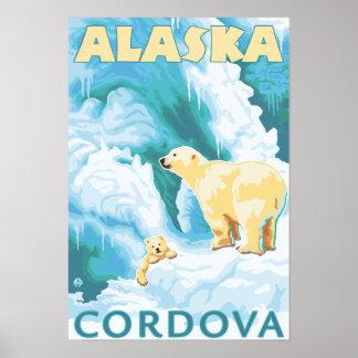 Osos polares y Cub - Cordova, Alaska Póster