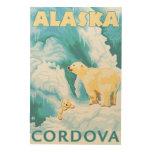 Osos polares y Cub - Cordova, Alaska Impresiones En Madera