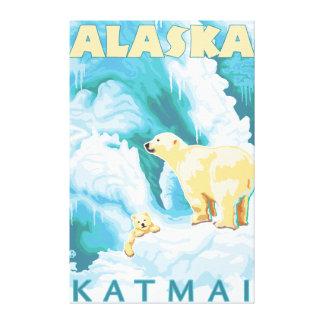 Osos polares y Cub - Katmai, Alaska Impresión En Tela