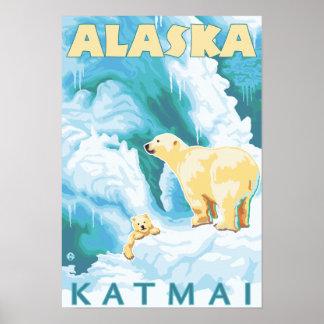 Osos polares y Cub - Katmai, Alaska Póster