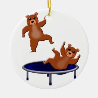 osos trampolining adorno navideño redondo de cerámica