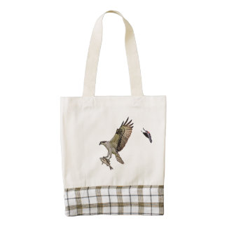 Osprey being chased by a red winged blackbird zazzle HEART tote bag