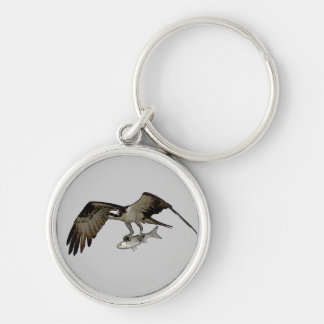 Osprey Carrying Fish Image Silver-Colored Round Keychain