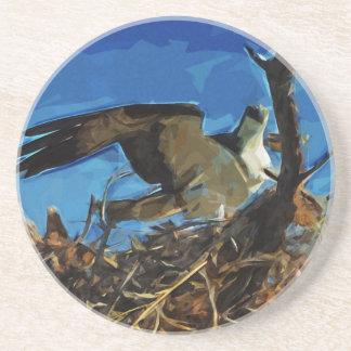 Osprey en el impresionismo del extracto de la jera posavasos diseño