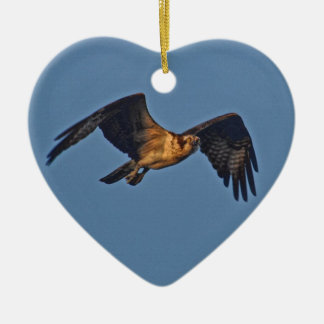 Osprey Fish Eagle Flying at Sunset Double-Sided Heart Ceramic Christmas Ornament