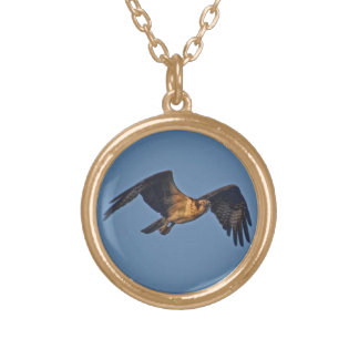Osprey Fish Eagle Flying at Sunset Gold Plated Necklace