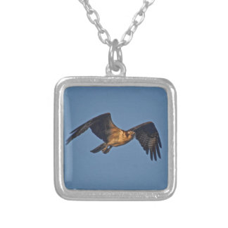Osprey Fish Eagle Flying at Sunset Silver Plated Necklace