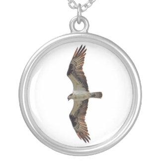 Osprey Flying Photo Round Pendant Necklace