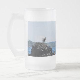 Osprey on Nest Frosted Glass Beer Mug