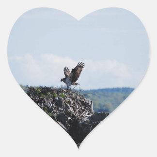 Osprey on Nest Heart Sticker