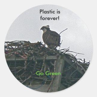 Osprey on Nest Plastic is forever Go Green Sticker