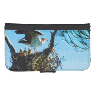 Osprey on the Nest Abstract Impressionism Wallet Phone Case For Samsung Galaxy S4