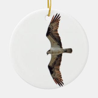 Osprey que vuela la foto adorno navideño redondo de cerámica