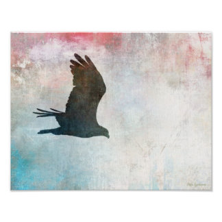 Osprey Silhouette 14x11 Canvas Poster Print