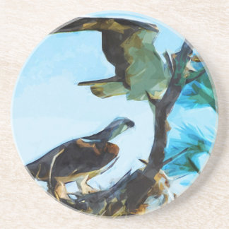 Osprey Takes Flight Abstract Impressionism Coaster