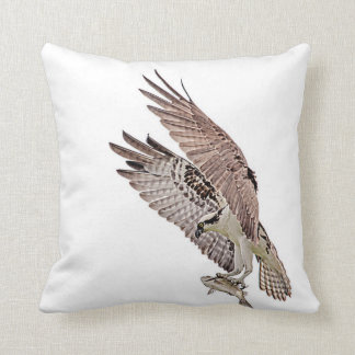 Osprey with a fish throw pillow