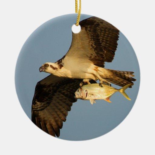 osprey with fish ceramic ornament