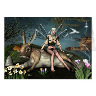 Ostara Fae and March Hare Greetings Card
