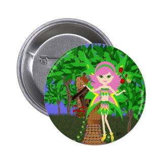 Ostara Faery and Birdhouse Cottage Button