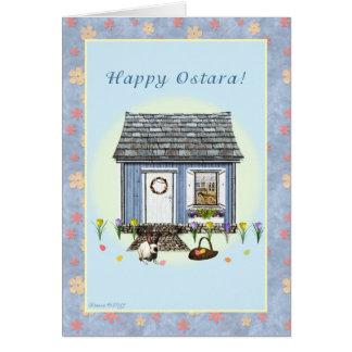 Ostara feliz - equinoccio vernal - casa de la tarjeta de felicitación