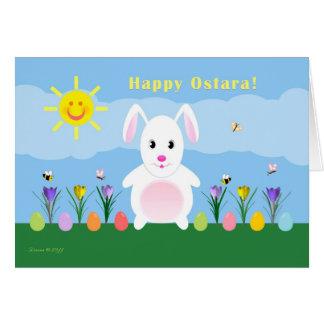 Ostara feliz - equinoccio vernal - conejo en tarjeta de felicitación