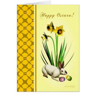 Ostara feliz - narcisos y liebres - tarjeta en bla