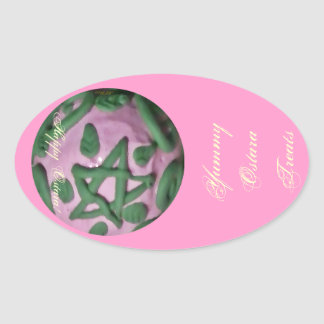 Ostara Spring Equinox Pentagram Treat Labels Oval Sticker