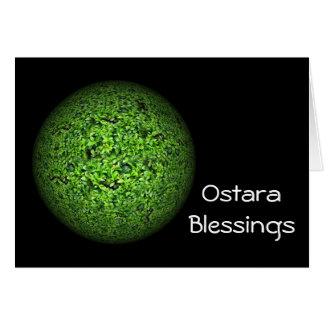 Ostara Spring Solstice with leafy planet earth Card