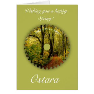 Ostara Spring Solstice with spring scenery Greeting Card