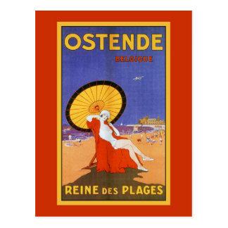 Ostend Queen of beaches 1920s beauty summer travel Postcard