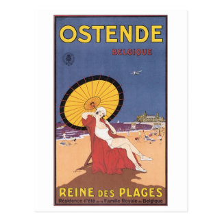 Ostende Belgique Travel Poster Postcard