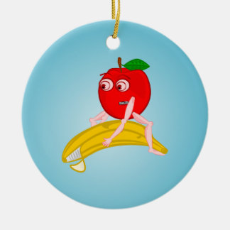 Osteopath Fruit Funny Apple Straightening a Banana Ceramic Ornament