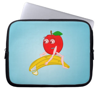 Osteopath Fruit Funny Apple Straightening a Banana Computer Sleeve