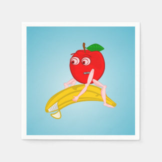 Osteopath Fruit Funny Apple Straightening a Banana Paper Napkin