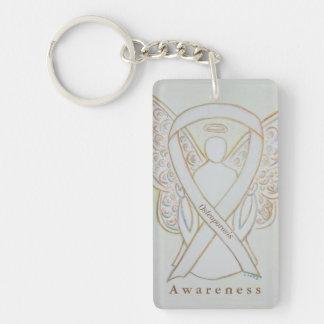 Osteoporosis Angel White Awareness Ribbon Keychain