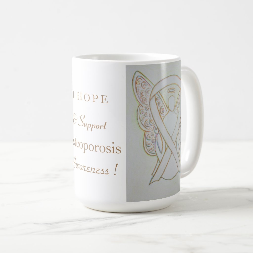 Osteoporosis Awareness Ribbon Angel Custom Mug