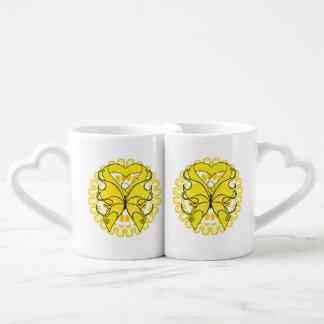Osteosarcoma Butterfly Heart Ribbon Couples' Coffee Mug Set